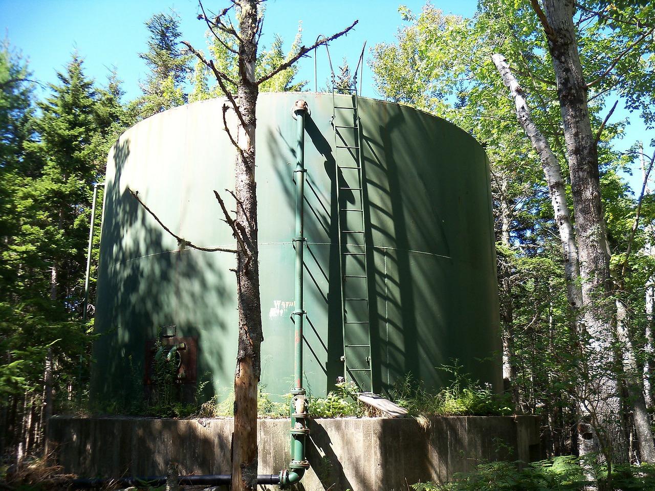 large green water tank