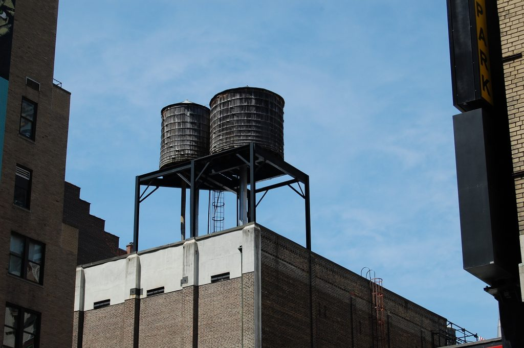 steel tank on rooftop