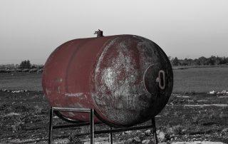 rusty steel water tank