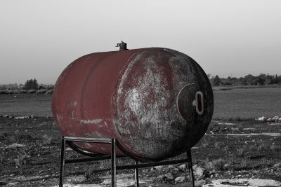 rusty steel water tank